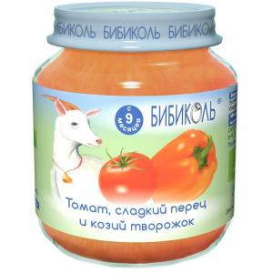 Пюре  томат/сладкий перец и козий творожок с 8 месяцев, 125 г Бибиколь