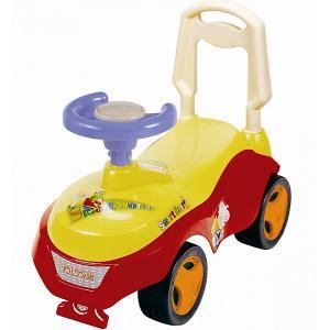 Машина-каталка  с сигналом-пищалкой, красно-желтая Bugati