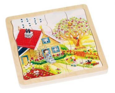 Деревянная игрушка  Пазл многослойный Времена года Goki