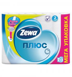 Туалетная бумага 2-х слойная белая  Plus, 12 шт Zewa