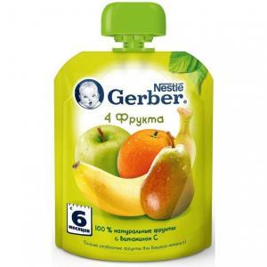 Пюре  4 фрукта с 6 месяцев, 90 г Gerber