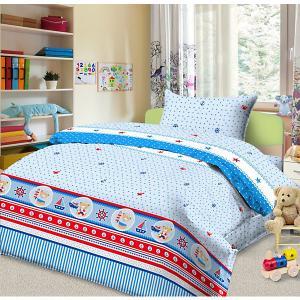 Детское постельное белье 3 предмета , простыня на резинке, BGR-102 Letto. Цвет: синий
