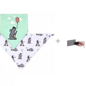 Нагрудник  и шейный платок 2 в 1 с заглушкой для электрических розеток Baby Safety BabyOno
