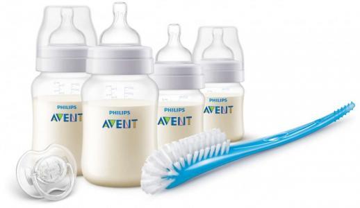 Набор бутылочек Anti-colic 2х125 мл и 2х260 мл, пустышка щеточка Philips Avent