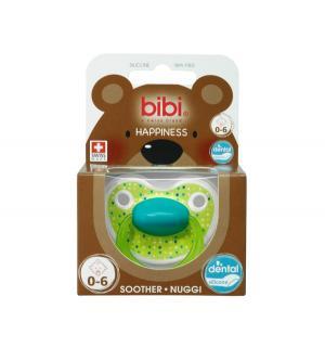 Пустышка  Premium Dental Happiness LovelyDots силикон, 0-6 мес, цвет: зеленый Bibi