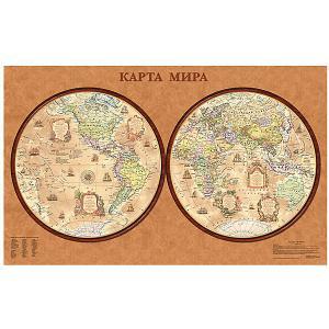 Карта Мира, Политическая, Полушария, стиль Ретро 1:34М Издательство Ди Эм Би