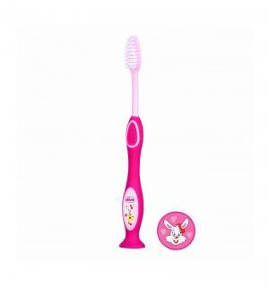 Зубная щетка  с присоской, 3 лет, цвет: розовый Chicco