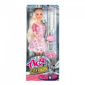 Кукла Ася Городской стиль Блондинка в розовом платье с цветочным принтом Toys Lab