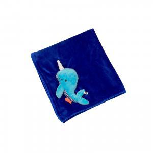 Одеяло с игрушкой Кит, , синий Zoocchini