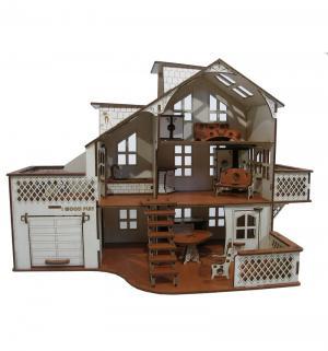 Кукольный домик  Деревянный с гаражом 52 см Iwoodplay