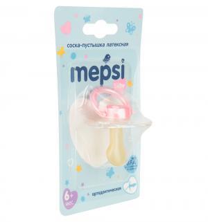 Соска-пустышка  Ортодонтическая латекс, с 6 мес, цвет: розовый Mepsi