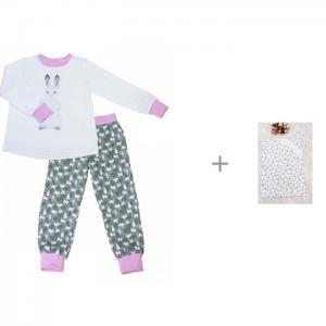 Пижама для девочки (джемпер и штанишки) с постельным бельем AmaroBaby Time to Sleep Мышонок КотМарКот
