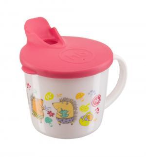 Кружка  Training cup тренировочная с крышкой, цвет: красный Happy Baby