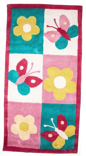 Ковер  с рисунком цветочки и бабочки, размер 70х140 см Sai Carpets