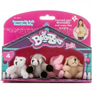 Мини-плюш в наборе Медведь, Енот, Кролик, Песик, Beanzeez