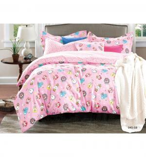 Комплект постельного белья  Игрушки, цвет: розовый 3 предмета Cleo