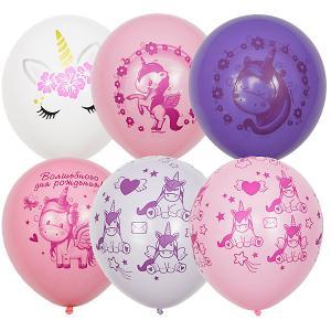 Воздушные шары  Единорог День Рождения 25 шт, пастель + декоратор Latex Occidental. Цвет: разноцветный