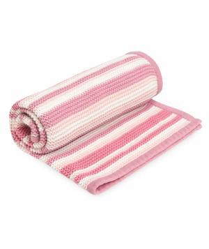 Одеяло  в полоску вязаное, цвет: розовый Mothercare