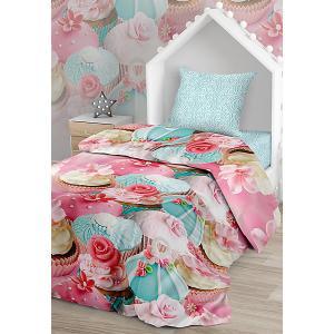 Комплект постельного белья  Капкейк, 1,5-спальное Juno. Цвет: розовый