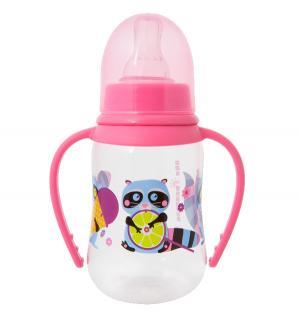 Бутылочка  Енотики С ручками полипропилен 6 мес, 125 мл, цвет: розовый Мир Детства