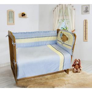 Комплект постельного белья из 6 предметов  Мишка Джентельмен голубой в горошек Soni Kids. Цвет: голубой