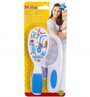 Набор расчесок  с мягкой ручкой, цвет: голубой Nuby