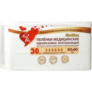 Детские одноразовые пеленки  60x60 см, 30 штук MiniMax