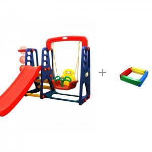 Игровой комплекс с качелями и музыкальной панелью Пластиковая песочница 2KIDS Happy Box