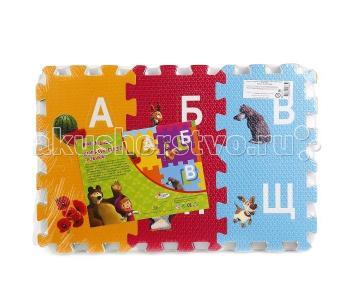 Игровой коврик  Маша и Медведь с буквами коврик-пазл Играем вместе