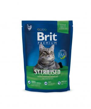 Сухой корм  Premium для взрослых кошек после кастрации/стерилизации, курица/куриная печень, 300г Brit