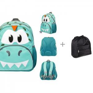 Рюкзак для мальчика Jumbo Compact Rex the Dino с вложением 33,5х30 см и рюкзак-мешок 41x44 Tiger Enterprise