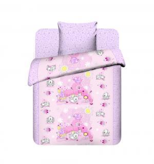 Комплект постельного белья  Плюшевые зайки, цвет: розовый Василек