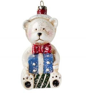 Елочное украшение  Мишка с подарком 11 см Новогодняя сказка