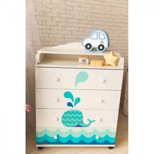 Комод  Маленький кит пеленальный (4 ящика) ByTwinz