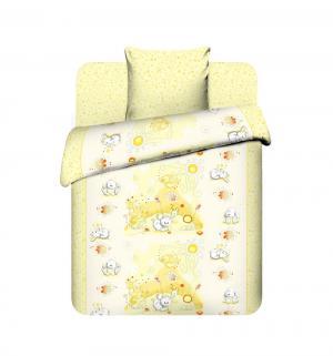 Комплект постельного белья  Плюшевые зайки, цвет: желтый Василек