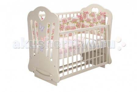 Детская кроватка  Шарлотта-2 Бабочки Laluca (маятник поперечный) Можгинский лесокомбинат