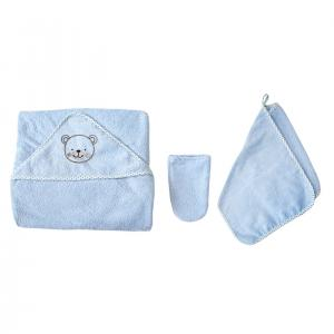 Комплект  варежка, цвет: голубой полотенце/рукавица Baby Nice