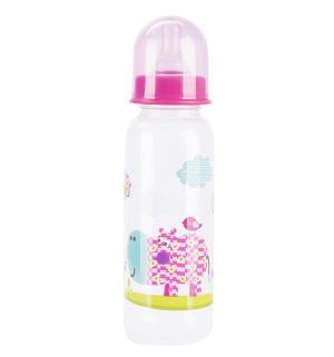 Бутылочка  пластик, 250 мл, цвет: розовый Бусинка