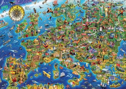 Пазл Сумасшедшая карта Европы 500 деталей Educa
