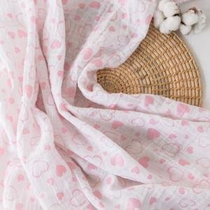 Пеленка  муслиновая Сердечки 120х120 Baby Nice (ОТК)
