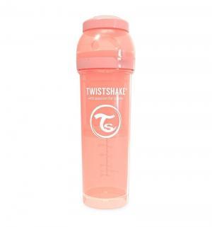 Бутылочка  для кормления антиколиковая пластик с рождения, 330 мл, цвет: персиковый Twistshake