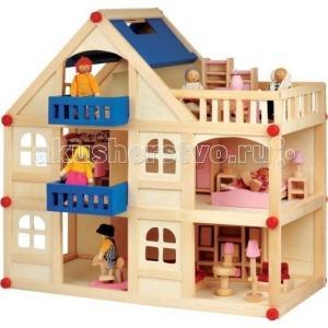 Кукольный домик 3 этажа Мир деревянных игрушек