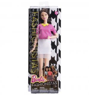 Кукла  Игра с модой Брюнетка в розовом топе клетку белой юбкой (высокая) 31 см Barbie