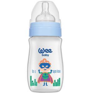 Бутылочка  Classic Plus для кормления с широким горлышком из ПП, 250 мл., Супермен WeeBaby