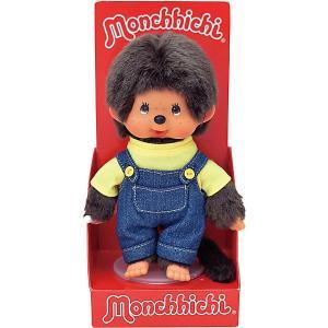 Мягкая игрушка  Мончичи, мальчик в комбинезоне и желтой футболке, 20 см Monchhichi. Цвет: разноцветный