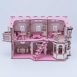 , Дом кукольный с эркерами, со светом Iwoodplay