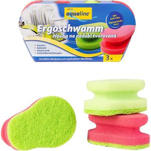 Аквалайн Эргономичная губка для мытья посуды, 3 шт Aqualine