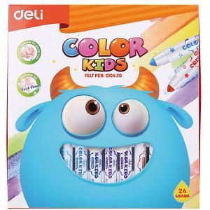 Смываемые фломастеры  Color Kids, 24 цветов Deli. Цвет: разноцветный