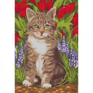Картина по номерам Котёнок в саду 20х30 см Molly