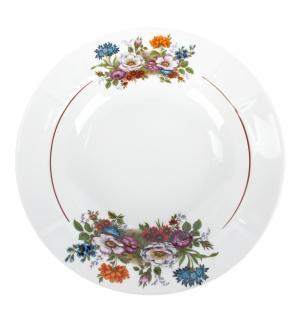 Тарелка суповая  Букет цветов, цвет: белый Добрушский ФЗ